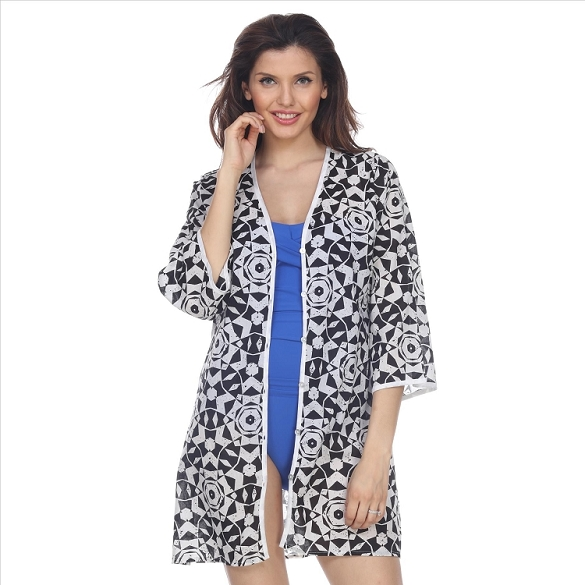 Mosaic Print Button Cover-Up - Black