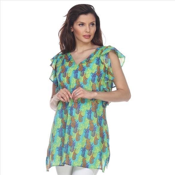 Ruffle Sleeved Pineapple Print Tunic - Green
