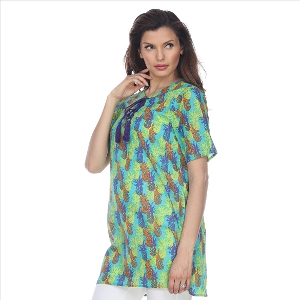 Abstract Pineapple Print Tunic with Pockets - Green