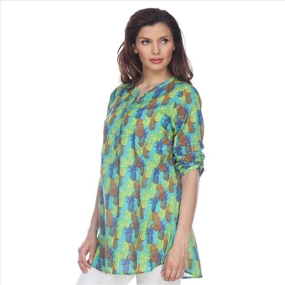 Fabulous 3/4 Sleeve Pineapple Print Tunic - Green
