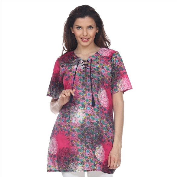Abstract Print Tunic with Pockets - Fuchsia