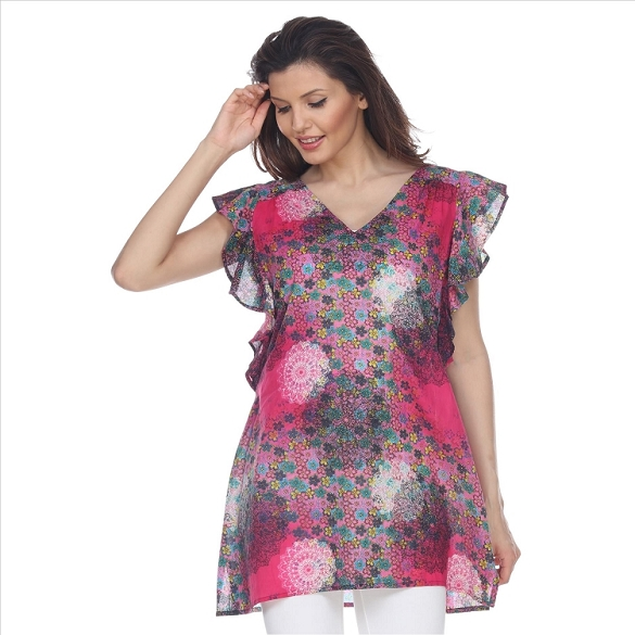 Ruffle Sleeved Abstract Print Tunic - Fuchsia