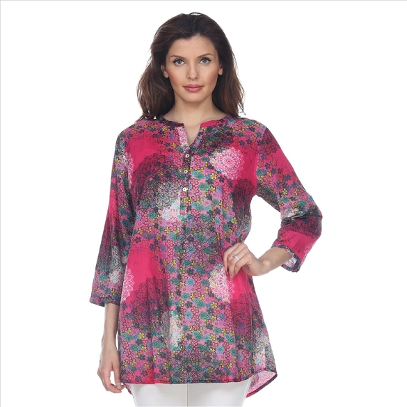 Fabulous 3/4 Sleeve Abstract Print Tunic - Fuchsia