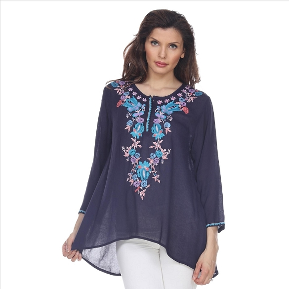 Alluring Embroidered Tunic - Navy