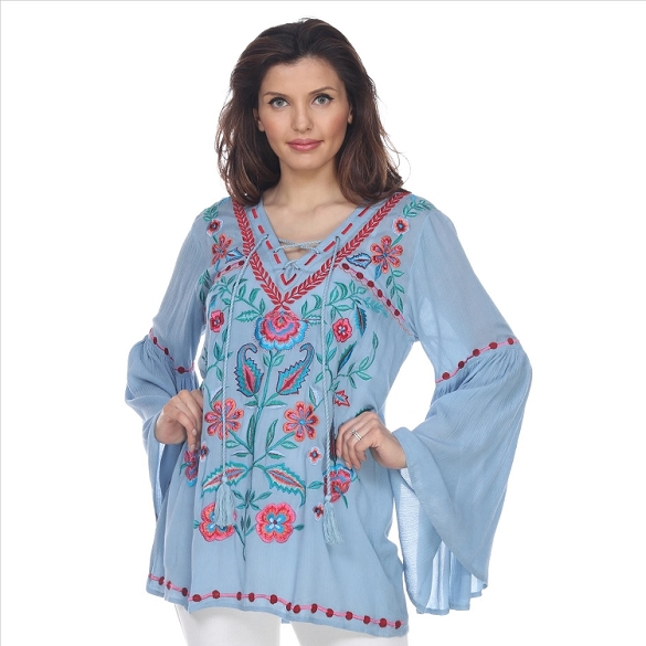 Bell Sleeved Embroidered Tunic - Blue