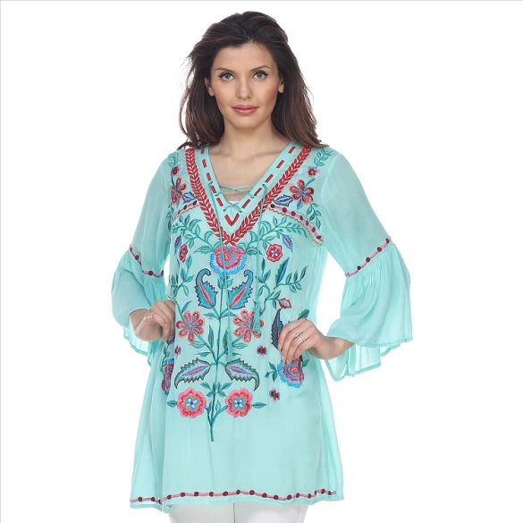 Bell Sleeved Embroidered Tunic - Mint