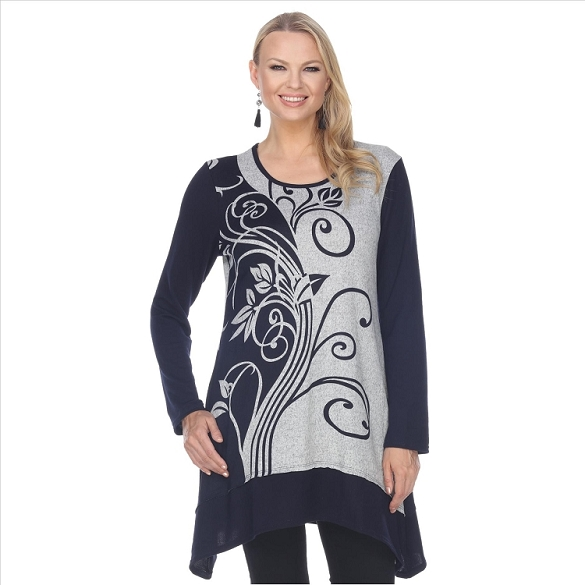 Floral Print Tunic - Navy