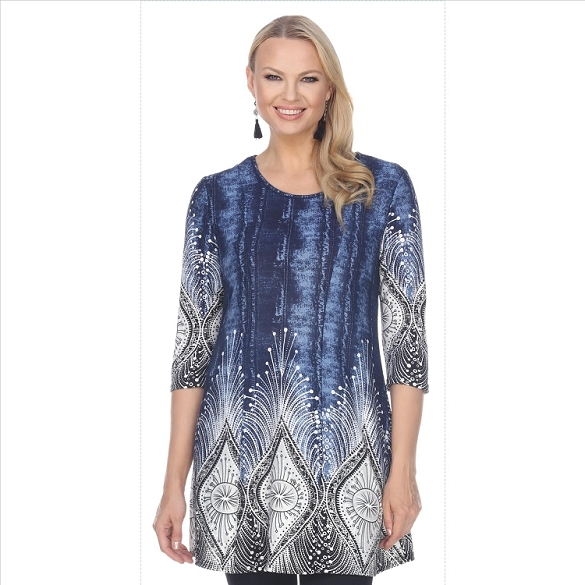 Abstract Print Tunic - Navy