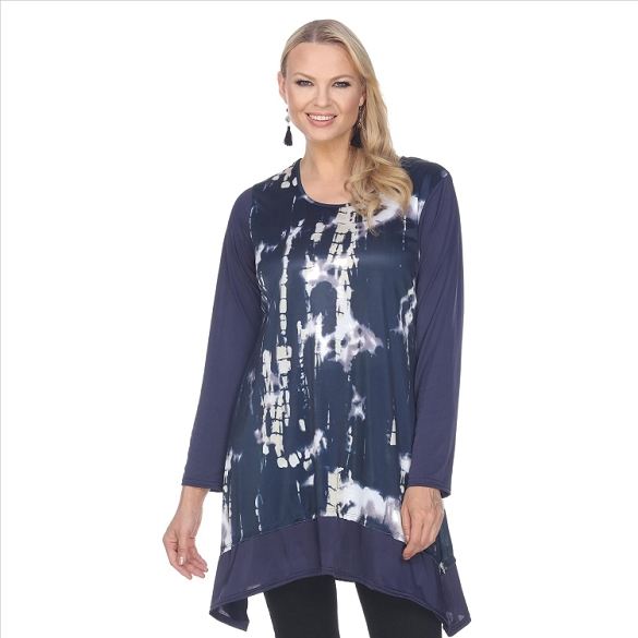 Abstract Navy and White Print Tunic - Navy