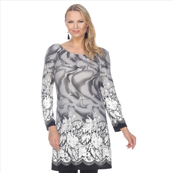 Contrasting Hem Floral Print Tunic - Grey