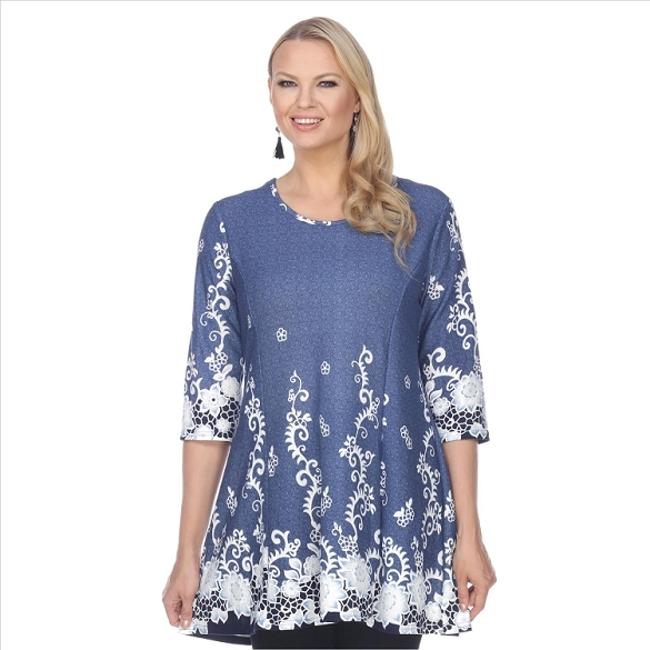 Whimsical Floral Print Tunic - Blue