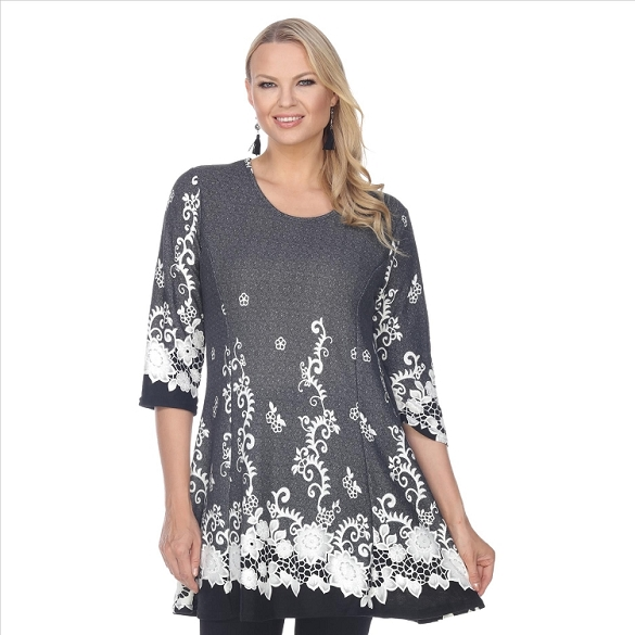 Whimsical Floral Print Tunic - Grey