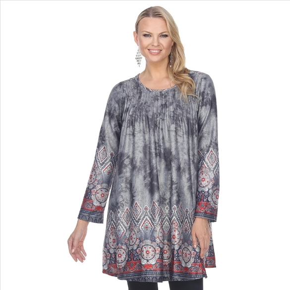 Fabulous Pleated Front Tunic - Grey