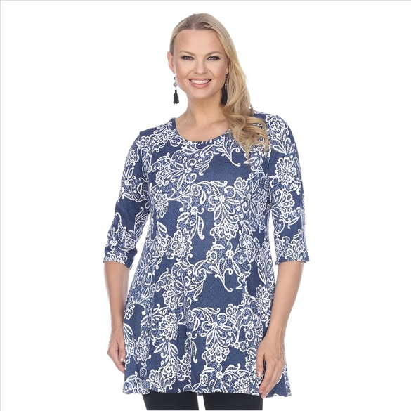 Round Neck Floral Print Tunic - Blue