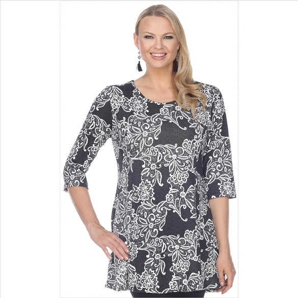 Round Neck Floral Print Tunic - Grey