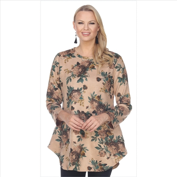 Floral Print Ultra Suede Tunic - Camel