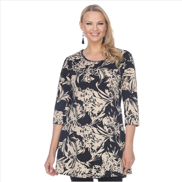 Floral Print Round Neck Tunic - Black