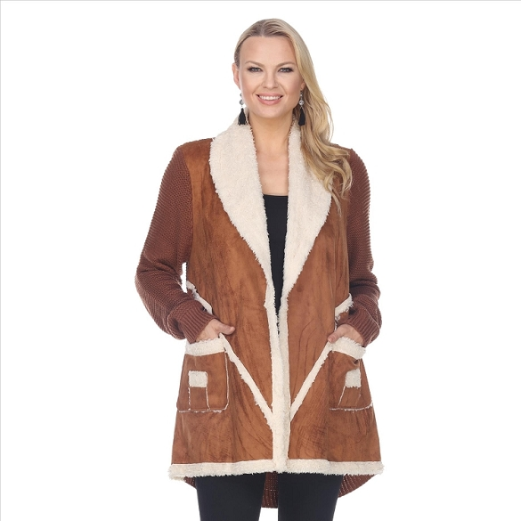 Faux Shearling Ultra-Suede Jacket - Cognac