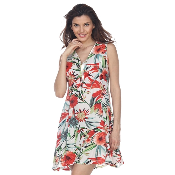 Floral Print Zipper Front Dress