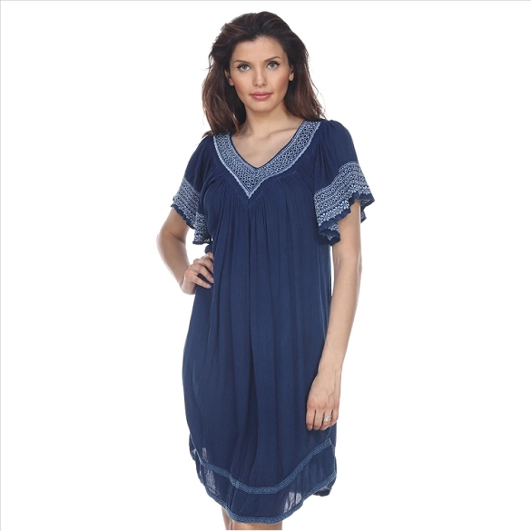 V-Neck Cape Sleeve Dress - Navy