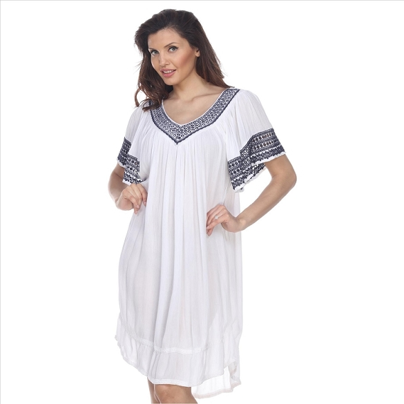 V-Neck Cape Sleeve Dress - White