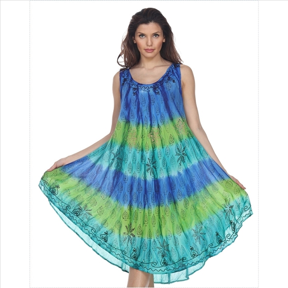 Tie Dye Sleeveless Dress - Blue