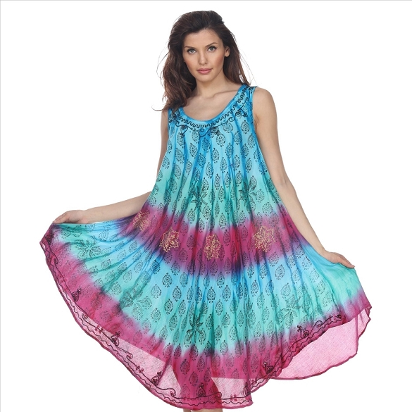 Tie Dye Sleeveless Dress - Turquoise