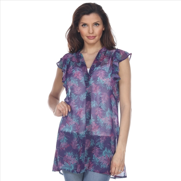 Button Down Leaf Print Ruffle Blouse - Purple