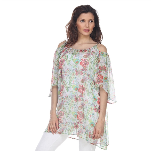 Cold Shoulder Floral Print Caftan - White