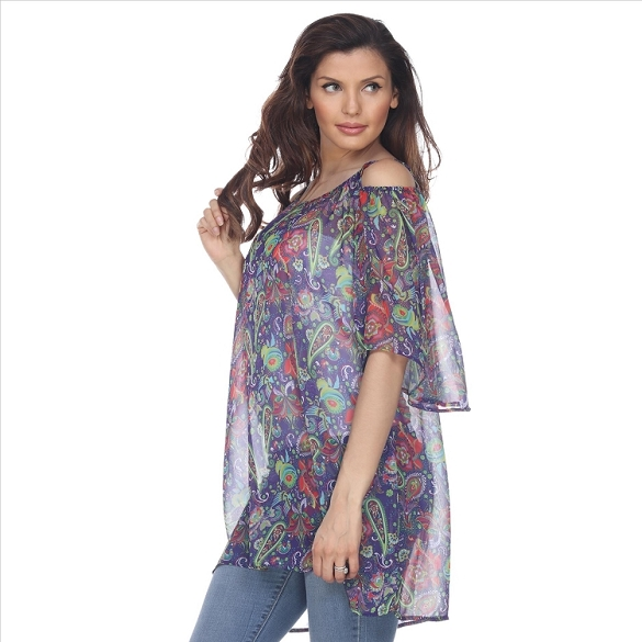 Cold Shoulder Floral Print Caftan - Purple