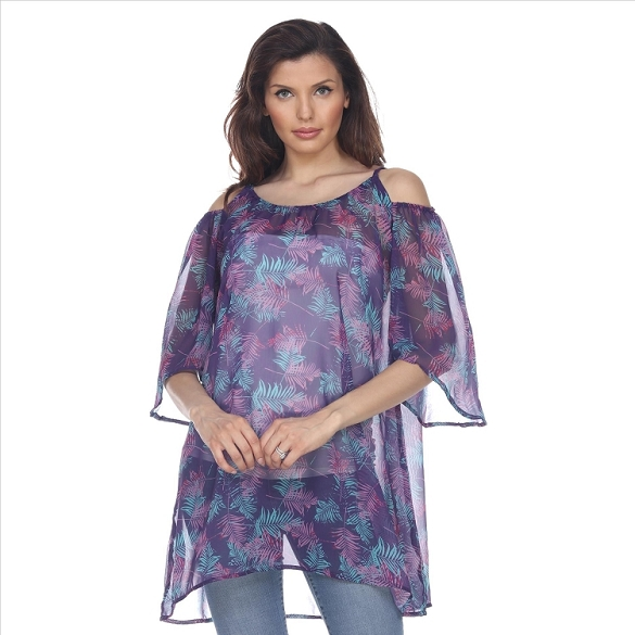 Cold Shoulder Leaf Print Caftan - Purple