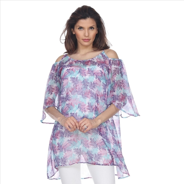 Cold Shoulder Leaf Print Caftan - White