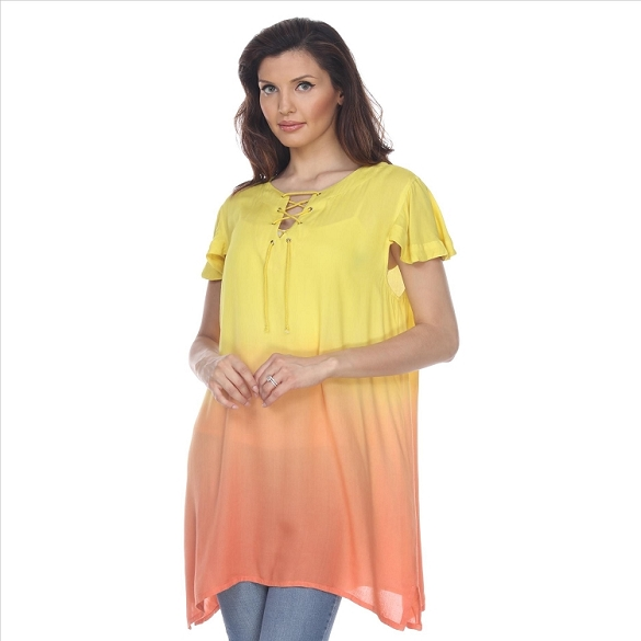 Cap Sleeve Ombre Tunic - Yellow