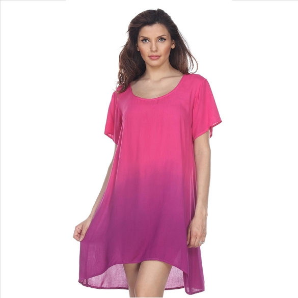 Casual Ombre Dress - Fuchsia