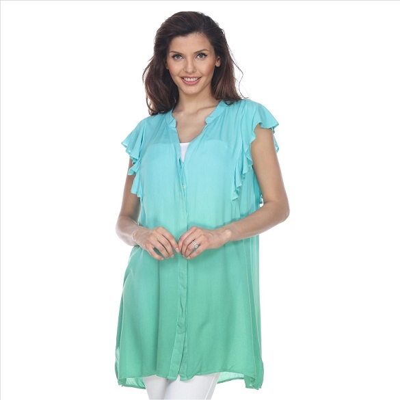 Button Down Ombre Ruffle Blouse - Mint