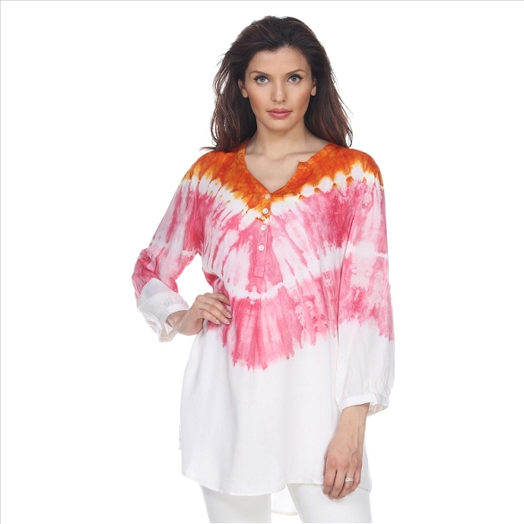 Tie Dye 3/4 Sleeve Button Tunic - Pink