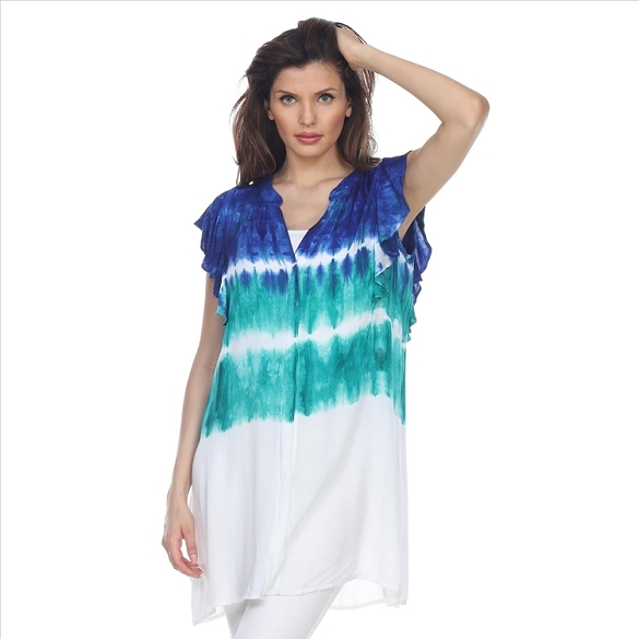 Tie Dye Ruffle Sleeve Button Tunic - Blue