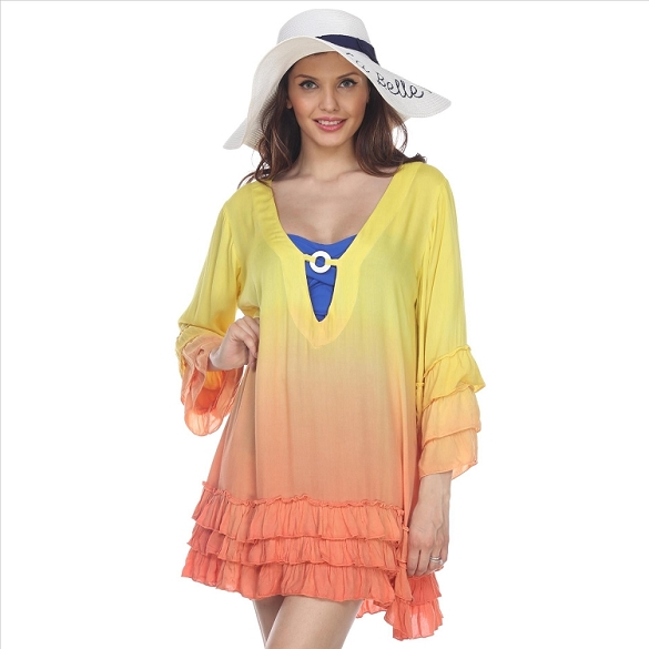 Adorable Ombre Ruffle Beach Cover-Up - Yellow