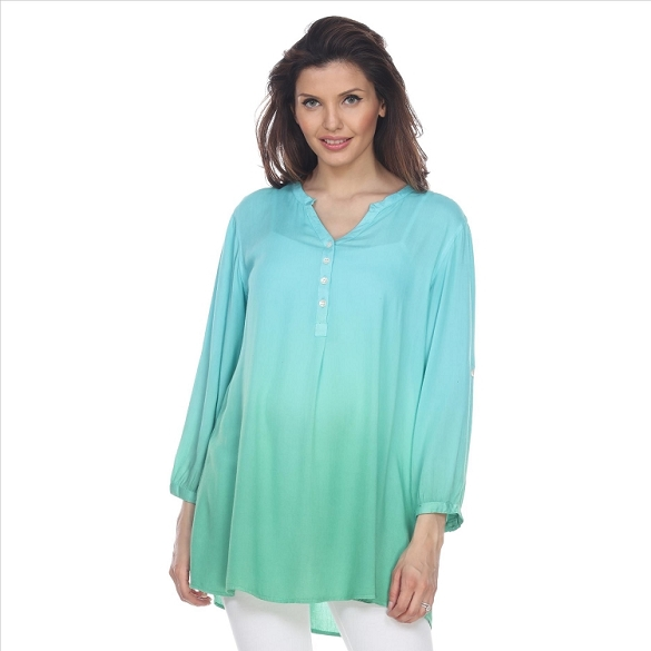 3/4 Sleeve Ombre Button Neck Tunic - Turquoise