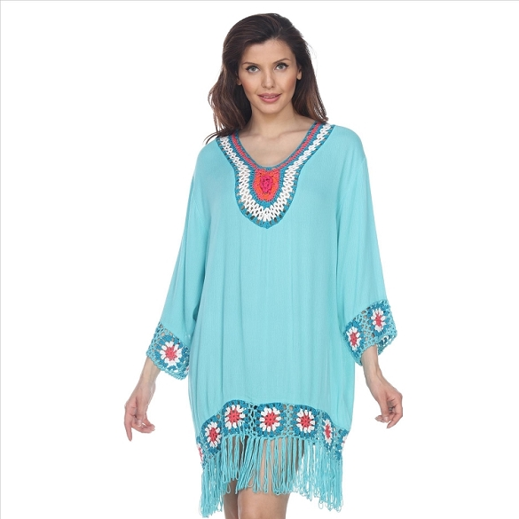 Fringe and Crochet Dress - Mint