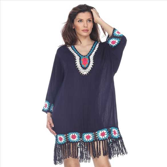Fringe and Crochet Dress - Navy