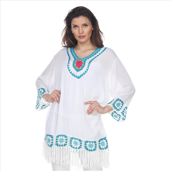 Crochet and Fringe Tunic - White