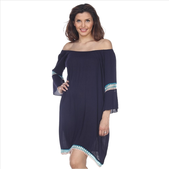 Casual Peasant Dress - Navy