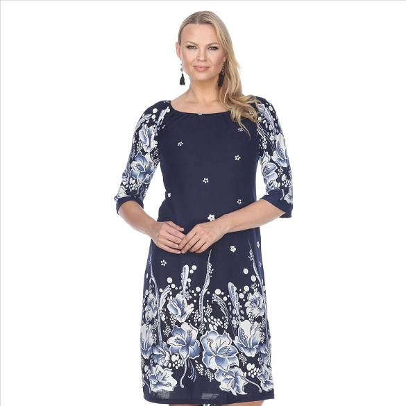 Elegant Floral Print Dress - Blue