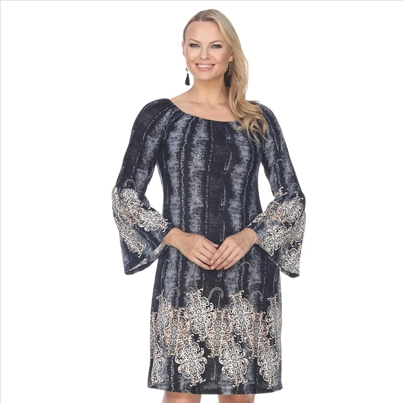 Bell Sleeve Peasant Dress - Black