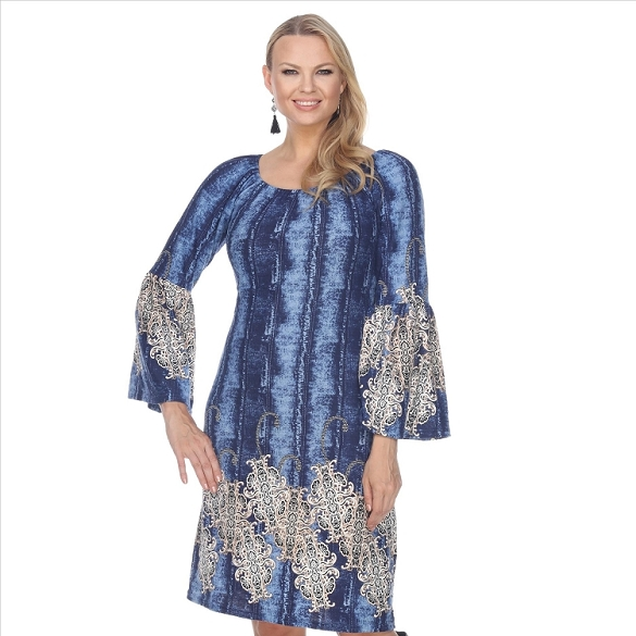 Bell Sleeve Peasant Dress - Blue