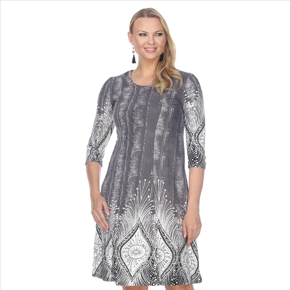 Abstract Print Dress - Grey