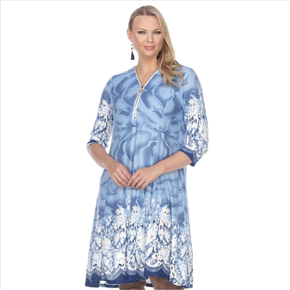 Contrasting Hem Floral Print Dress - Blue
