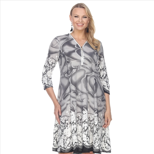 Contrasting Hem Floral Print Dress - Grey