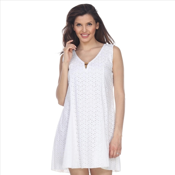 Elegant Eyelet Lace Dress - White